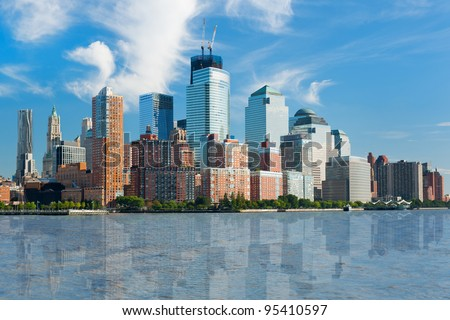 Great view of the city of New York from Hudson river; GPS information is in the file - stock photo