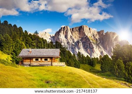 Great view on the Pizes de Cir ridge, valley Gardena. National Park Dolomites, South Tyrol. Location Ortisei, S. Cristina and Selva Gardena, Italy, Europe. Dramatic scene. Beauty world. - stock photo