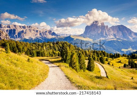 Great view on the Sassolungo (Langkofel) and Sella group, valley Gardena. National Park Dolomites, South Tyrol. Location Ortisei, S. Cristina and Selva, Italy, Europe. Dramatic scene. Beauty world. - stock photo