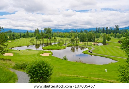 Great view (panorama, outlook ) at the beautiful golf course - stock photo
