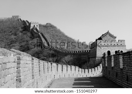 Great Wall in black and white in Beijing, China - stock photo