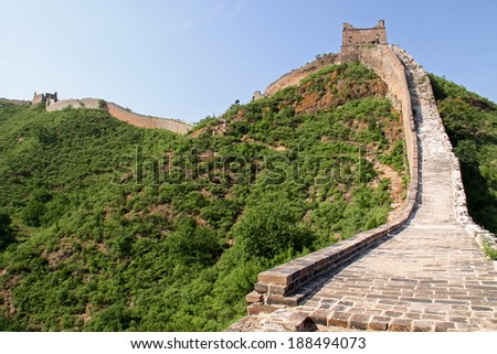 Great wall of China - JinShanLing neat Beijing, China - stock photo