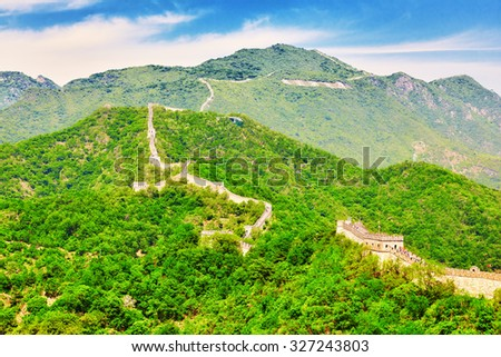 """Great Wall of China, section """"Mitianyu"""". Suburbs of Beijing. - stock photo"""