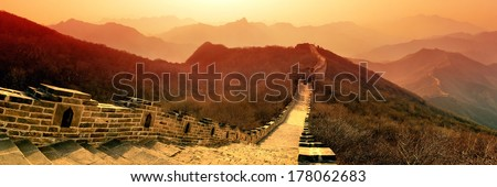 Great Wall panorama in the morning with sunrise and colorful sky in Beijing, China. - stock photo