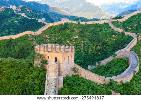great wall the landmark of china and  beijing - stock photo