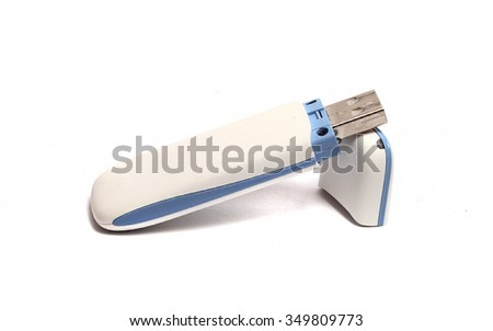 great white USB flash drive on a white background - stock photo
