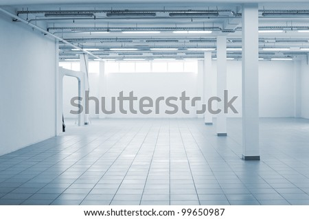 Greater room of modern under construction office - stock photo