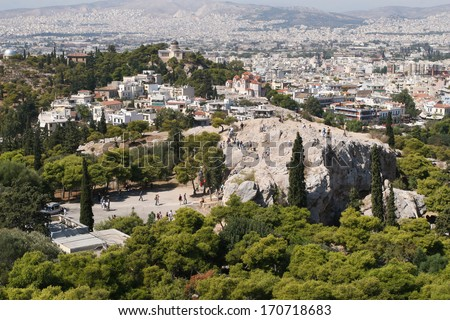 Greece, Athens. View of a hill Areopagus and hill of Nymphs - stock photo