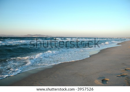 greece beach in island Kos - stock photo