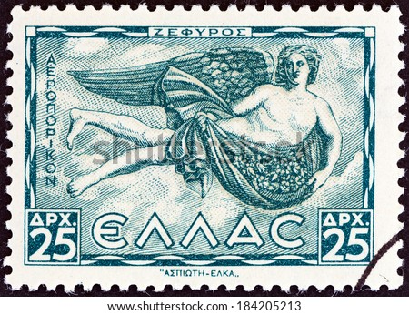 """GREECE - CIRCA 1943: A stamp printed in Greece from the """"Airmail - Greek Mythology. Winds """" issue shows Zephyr (West wind), circa 1943. - stock photo"""