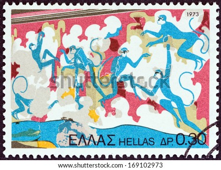 "GREECE - CIRCA 1973: A stamp printed in Greece from the ""Archaeologica l Discoveries, Island of Thera (Santorini) "" issue shows Blue Apes (fresco), circa 1973.  - stock photo"