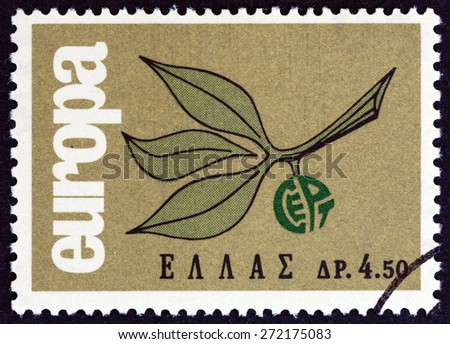 """GREECE - CIRCA 1965: A stamp printed in Greece from the """"Europa"""" issue shows Europa sprig, circa 1965. - stock photo"""