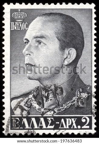 GREECE - CIRCA 1956: a stamp printed in the Greece shows Paul, King of Greece, circa 1956  - stock photo