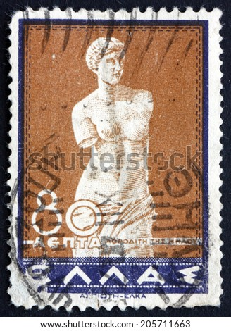 GREECE - CIRCA 1937: a stamp printed in the Greece shows Venus of Melos, Statue by Alexandros of Antioch, circa 1937 - stock photo