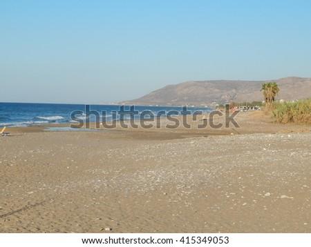Greece, Crete sea water wave on shore - stock photo