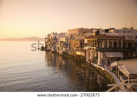 Greece, Cyclades Islands. Mykonos. Chora, The Little Venice. - stock photo