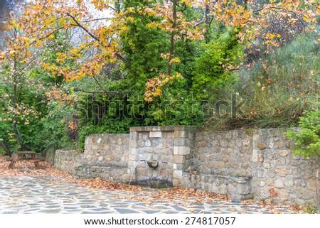 Greece Doksa lake Natural stone landscaping - stock photo