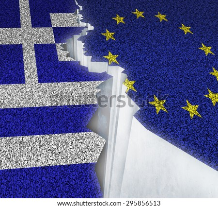 Greece Europe failure concept as a dividing crack on a broken road with the European union and Greek flag as a failure or potential grexit deal because of the debt crisis. - stock photo