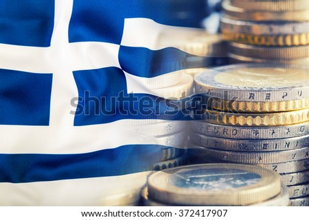 Greece flag. Euro money. Euro currency. Colorful waving greece flag on a euro money background - stock photo