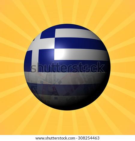 Greece flag euros sphere on sunburst illustration - stock photo