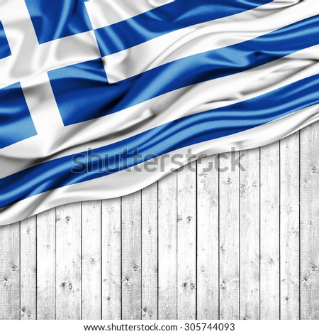 Greece   flag of silk with copyspace for your text or images and wood background - stock photo