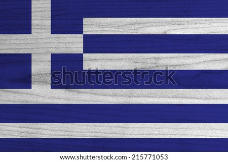 Greece Flag painted on wood background  - stock photo