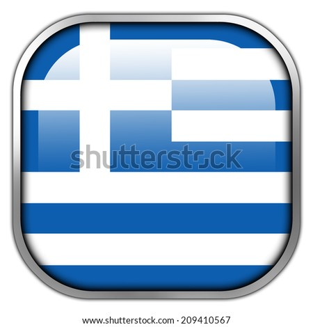 Greece Flag square glossy button - stock photo