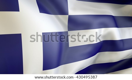 Greece flag waving in the wind 3d rendering - stock photo