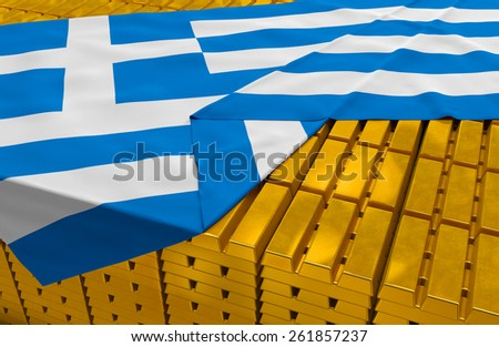 Greece gold reserve stock: golden bars (ingots) are covered with greek flag in the storage (treasury) as symbol of national gold and foreign currency reserves, financial health, economic growth - stock photo