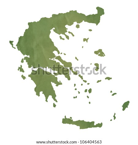 Greece Islands map in old green paper isolated on white background. - stock photo