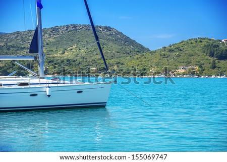 Greece ithaki island, traditional sailing yachts at ithaka island at summer - stock photo