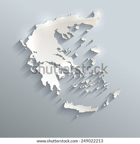 Greece map blue white card paper 3D raster - stock photo
