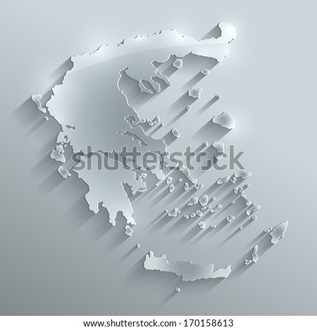 Greece map glass card paper 3D raster - stock photo
