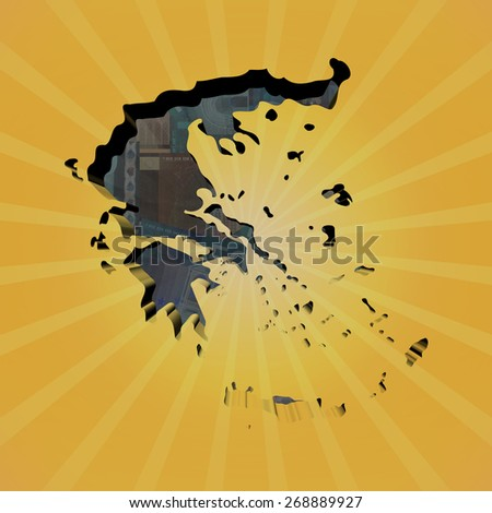 Greece map on euros sunburst illustration - stock photo