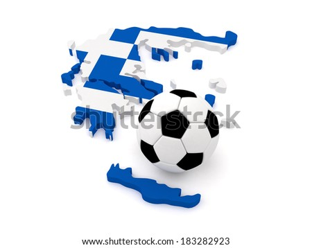 Greece Map with Soccer Ball - stock photo