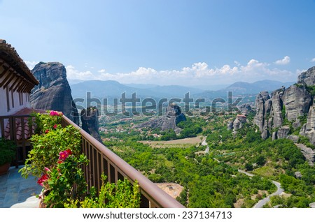 Greece, Meteors, view from the Monastery of St. Barbara in the valley of Thessaly - stock photo