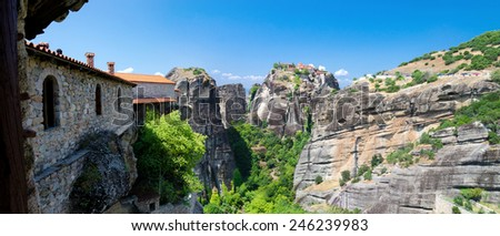 Greece, Meteors, view from the Monastery of St. Varlaam  - stock photo