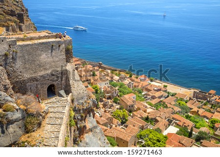 greece monemvasia traditional view of stone houses and sights in main capitol in mani Peloponnese with sea background - stock photo