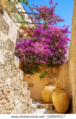 greece monemvasia traditional view of stone houses with colorful flowers among sights in main capitol in mani Peloponnese - stock photo