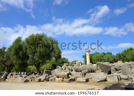 Greece Olympia, ancient ruins of the temple of Zeus, it most important building in the Olympia -   UNESCO world heritage site - stock photo