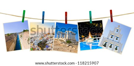 Greece photography on clothespins isolated on white background - stock photo