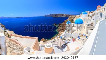 Greece Santorini beautiful panorama of the island - stock photo