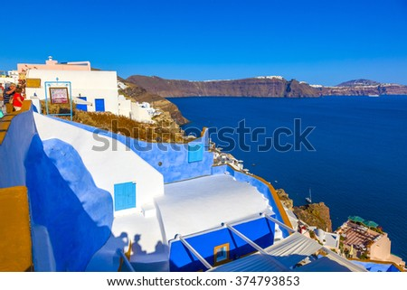 Greece Santorini Fira - stock photo