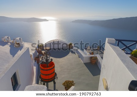 Greece Santorini Panoramic view of caldera - stock photo