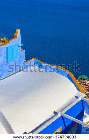 Greece Santorini view - stock photo