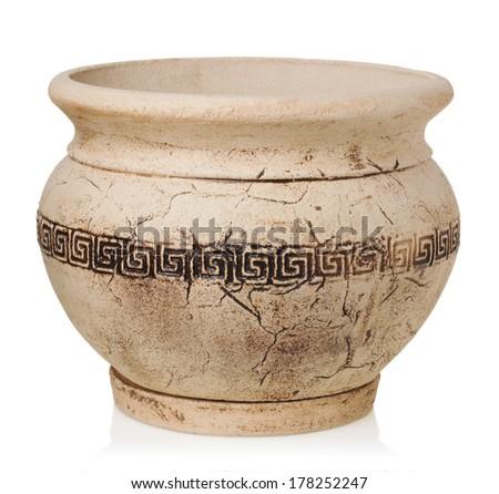 Greece vase on a white background - stock photo