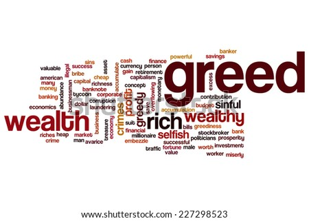 Greed word cloud concept - stock photo