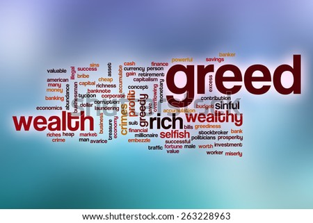 Greed word cloud concept with abstract background - stock photo