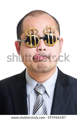 Greedy banker - stock photo