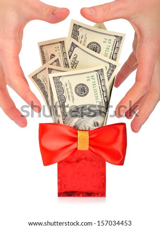 Greedy hand grabs money  isolated on white  - stock photo